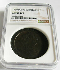 U.K -Great Britain Soho Cartwheel 2 Pence 1797-KM # 619, NGC - AU50
