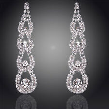 18K WHITE GOLD PLATED CLEAR CZ & AUSTRIAN CRYSTAL LONG DANGLE STATEMENT EARRINGS
