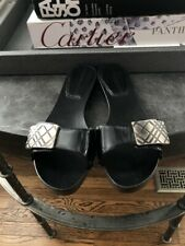 Burberry Black Patent Leather Slide Sandals Silver Detail Size 36