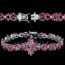 Sterling Silver 925 Genuine Marquise Pink Ruby Statement Bracelet 7.25 Inches