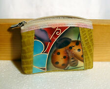 By KATZ LEATHER - GENUINE LEATHER COIN POUCH HAND PAINTED - 2 ZIPPER POCKETS