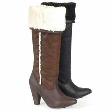 WOMENS LADIES MID CALF KNEE HIGH FUR ZIP MILITARY COMBAT ARMY BOOTS SHOES SIZE