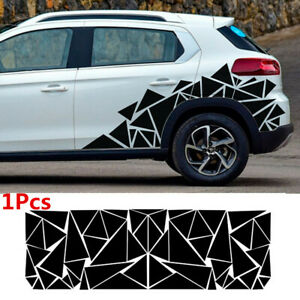 78x23in Geometric Triangle Graphics Decal Glossy Black Sticker For Car Body Side