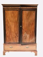19Th C George Iii Period Chippendale Style Antique Mahogany Linen Press