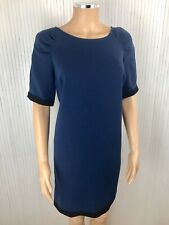 Kookai Navy Blue Short Sleeve Dress Contrast Black Trim & Zip Sides Eu 40 UK 12