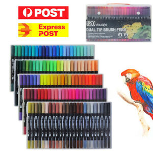 Art Markers Dual Tips Coloring Brush Pen & Fineliner Color Pens 120 Colours AU