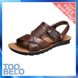 Sandalias De Cuero Para Hombres Zapatos Moda Verano Casual Chanclas Sólido Lujo