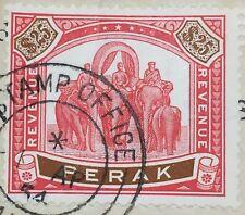 RARE MALAYA PERAK 1950 Elephants & Howdah $25 REVENUE Used M2809