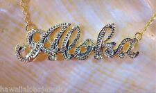 """34mm 14k Yellow Gold Over Solid Silver Hawaiian Hand Engraved Aloha Necklace 17"""""""