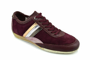$425 DOLCE & GABBANA Burgandy Leather HERITAGE Casual Men Sneakers Shoes 41 / 7