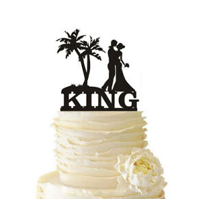 Couple with Tree Wedding Cake Topper Customized Last Name Beach Party Decoration
