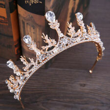 Vintage Gold Pearls Baroque Style Wedding Party Bridal Crown Bride Hair Tiara
