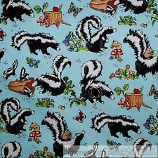 BonEful Fabric FQ Cotton Quilt Blue Black White B&W Skunk Flower Red Mushroom US