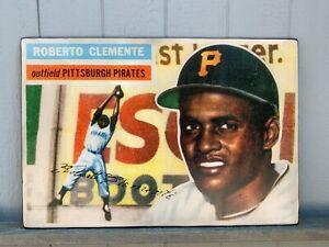Rustic Print on Wood Huge 24x36 1956 Topps Roberto Clemente Baseball card !! WOW