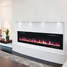 2018 72 INCH WIDE LED FLAMES BLACK GLASS TRUFLAME WALL MOUNTED ELECTRIC FIRE
