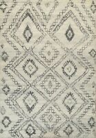 Geometric Modern Moroccan Oriental Area Rug Hand-knotted Plush Wool 8'x9' Carpet