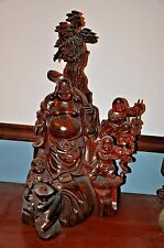 Large Chinese Carved Huanghuali Lohan Bodhidharma With Kids Statue