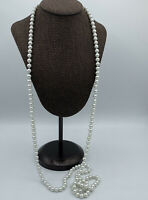Faux Pearl Hand Knotted Long Necklace 54""