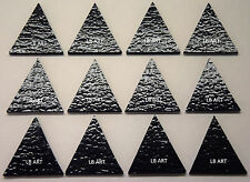 """12 Black 1 1/2"""" Tall Triangles Thin Bullseye 90 Coe Glass Compatible For Fusion"""