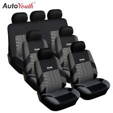AUTOYOUTH Car Seat Covers Track Detail Style Set Polyester Fabric Universal