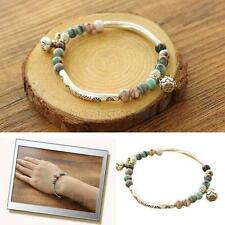 Beauty Chinese Jewelry Ceramic Beads With Tibetan Silver Beads Stretch Bracelet