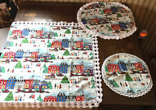 Vintage Christmas Linens 3 Piece Crochet Edge Doilies-Village Fabric Material