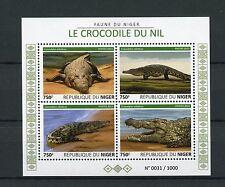 Niger 2015 MNH Nile Crocodiles 4v M/S Reptiles Fauna Nile Crocodile