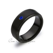 8mm,Blue Sapphire,Black Gun Metal Brushed,Tungsten Rings,Mens Wedding Band,Match
