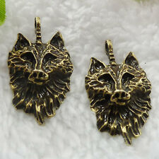 Free Ship 88 pieces bronze plated wolf pendant 31x17mm #247