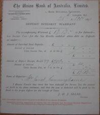 1891 Int. Warrant Certificate - Union Bank of Australia