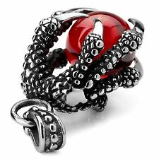 MENDINO Men's Stainless Steel Dragon Claw Red CZ Silver Pendant Chain Necklace