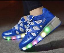 Kids Roller Skate Shoes Wheel Sneaker Boys Girls Light Led Sneakers size 4