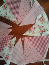 3M Shabby Chic Vintage fabric Bunting.,Pink,Red.Wedding,Home,Party,Baby