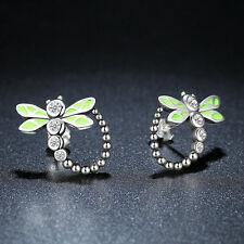 Solid 925 Sterling Silver Clear CZ Green Enamel Dragonfly Ear Dangle Earrings
