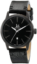 NEW Joshua & Sons JS86BK Mens Swiss Watch Genuine Black Leather Strap Date