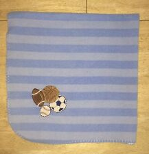 Just Born Baby Boys Blanket Blue Striped Fleece Sports Baseball Soccer Football