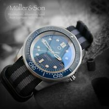 "Müller&Son Blue ""Omega Seamaster"" Mega Mod made from Seiko SNZF + Military Strap"