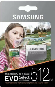 512GB Samsung EVO Select Micro SDXC UHS-1 Class 10 Memory Card With SD Adapter