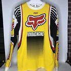 Vintage 90s Fox Racing Jersey Motocross Cotton Shirt Yellow XL MX Dirt Bike AXO