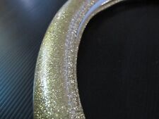38cm Glitter Chrome Yellow Gold Leather Vehicle Car Steering Wheel Cover