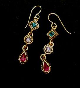 Patricia Locke Earrings Gold Plate Swarovski Crystals NWOT