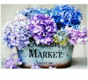 Blue Purple Flowers Diamond Painting Lovely Embroidery House Display Wall Decors