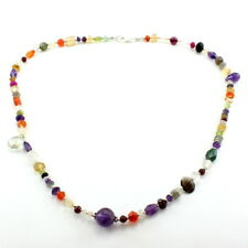 Necklace natural multi garnet citrine carnelian gemstone 925 sterling silver 22g