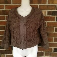 NWT Ladies Small Mocha Brown Bolero Shrug Jacket Flower Rosette Lined 3/4 Sleeve