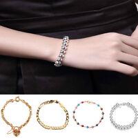 Bevelled Curblink Bracelet Bangle Wristband Boy Mens Chain Gift Stainless Steel