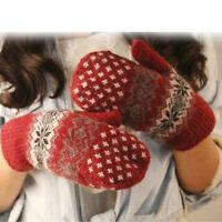 Knitted Wool Women Girls Snowflake Winter Keep Warm Ladies Soft Mittens Gloves