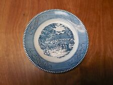 "Royal USA CURRIER AND IVES BLUE Bread & Butter Plate 6 3/8"" Harvest 1 ea"