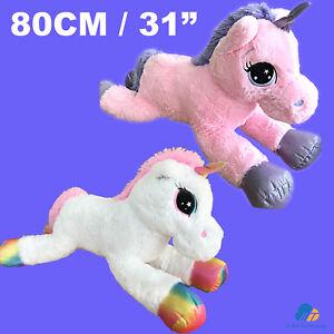 80cm Giant Unicorn Plush Gift Soft Stuffed Large Cuddly Animal Pony Toy UK