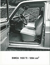 SIMCA 1100 TI 1294 CM3 original press photograph Interior Front