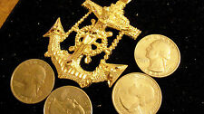 bling gold plated big sailboat navy sailors cross anchor charm chain necklace gp